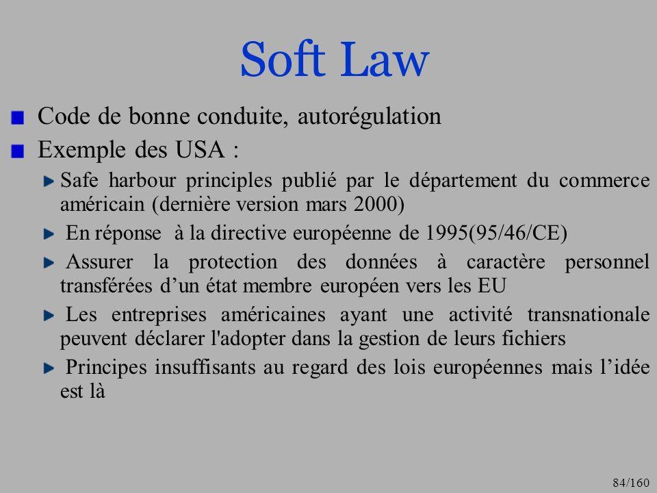Soft Law Code de bonne conduite, autorégulation Exemple des USA :