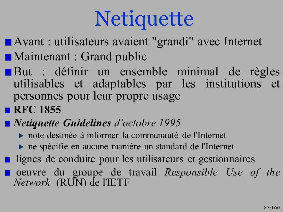 Netiquette Avant : utilisateurs avaient grandi avec Internet