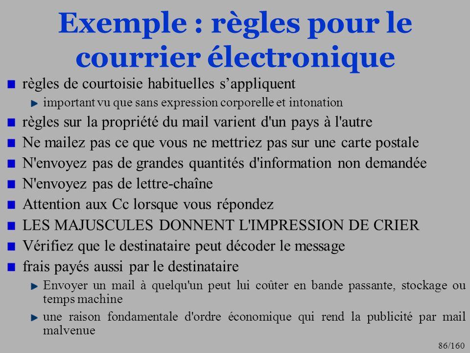 Exemple : règles pour le courrier électronique