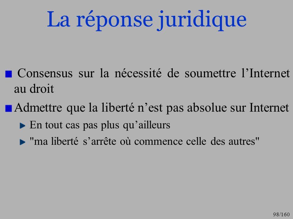 La réponse juridique Consensus sur la nécessité de soumettre l'Internet au droit. Admettre que la liberté n'est pas absolue sur Internet.
