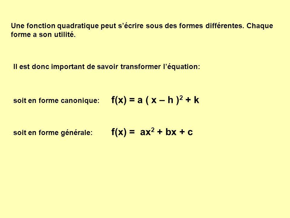 f(x) = a ( x – h )2 + k f(x) = ax2 + bx + c