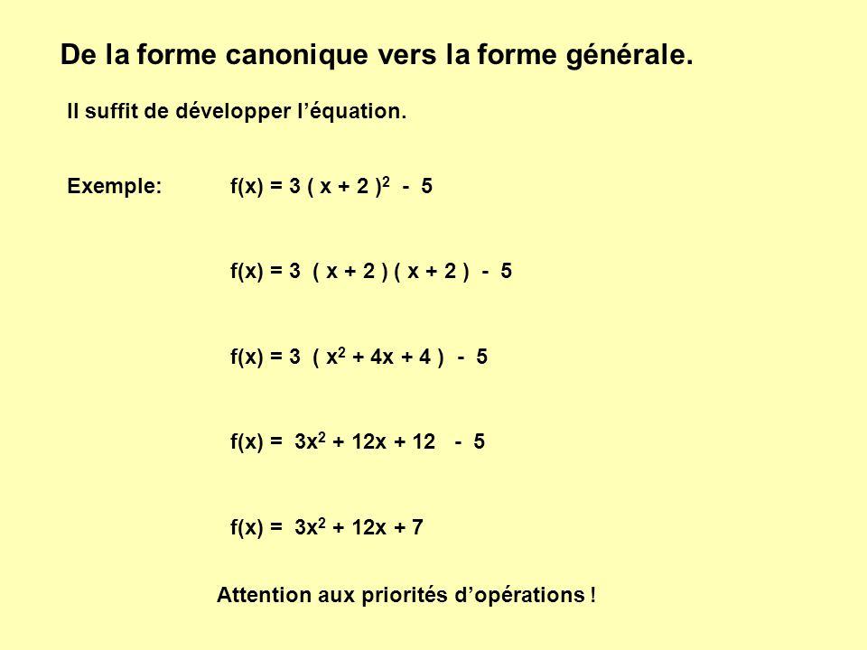 De la forme canonique vers la forme générale.