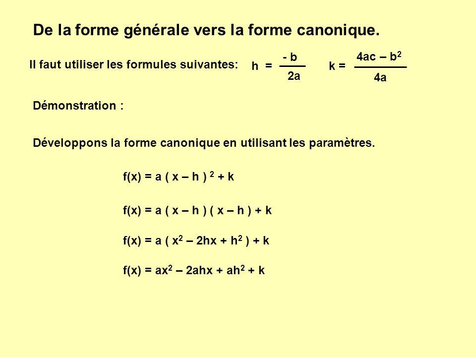 De la forme générale vers la forme canonique.