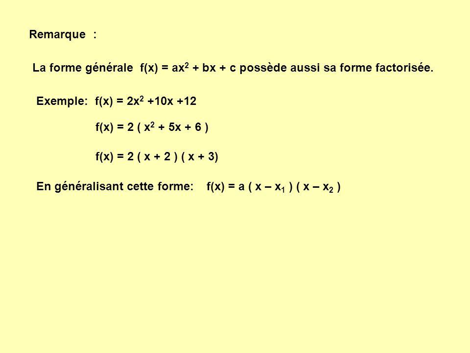 Remarque : La forme générale f(x) = ax2 + bx + c possède aussi sa forme factorisée. Exemple: f(x) = 2x2 +10x +12.