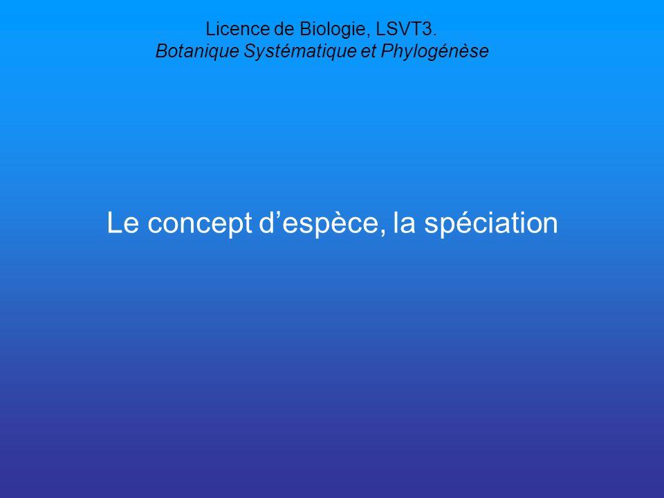 Licence de Biologie, LSVT3. Botanique Systématique et Phylogénèse
