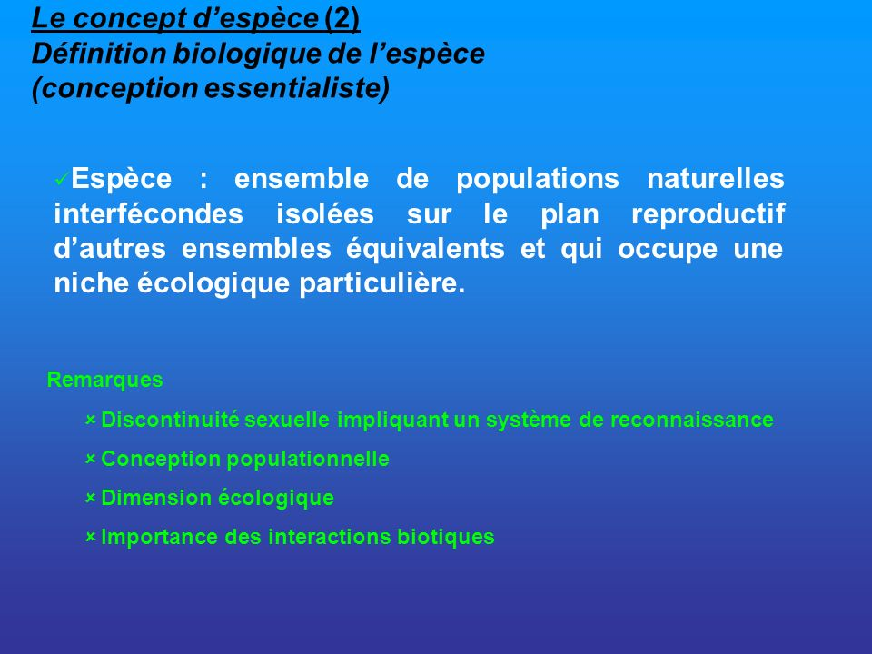 Le concept d'espèce (2) Définition biologique de l'espèce (conception essentialiste)