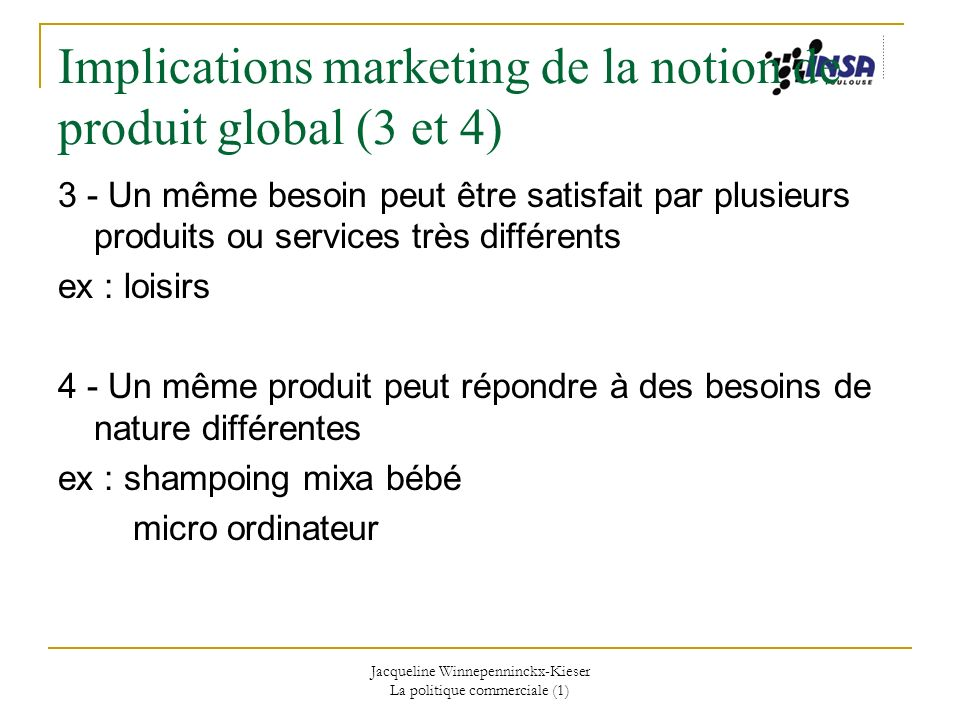 Implications marketing de la notion de produit global (3 et 4)