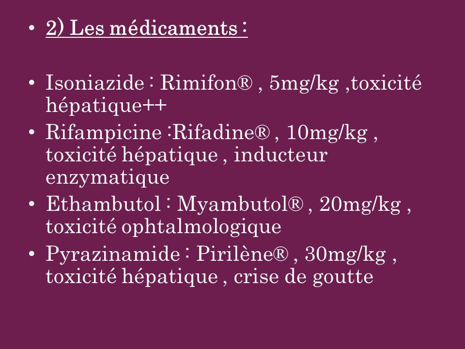 2) Les médicaments :Isoniazide : Rimifon® , 5mg/kg ,toxicité hépatique++