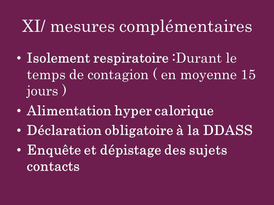 XI/ mesures complémentaires