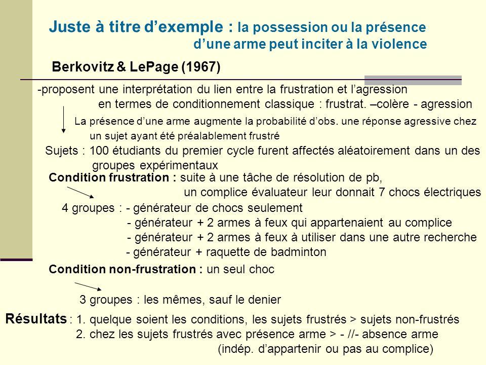 Juste à titre d'exemple : la possession ou la présence