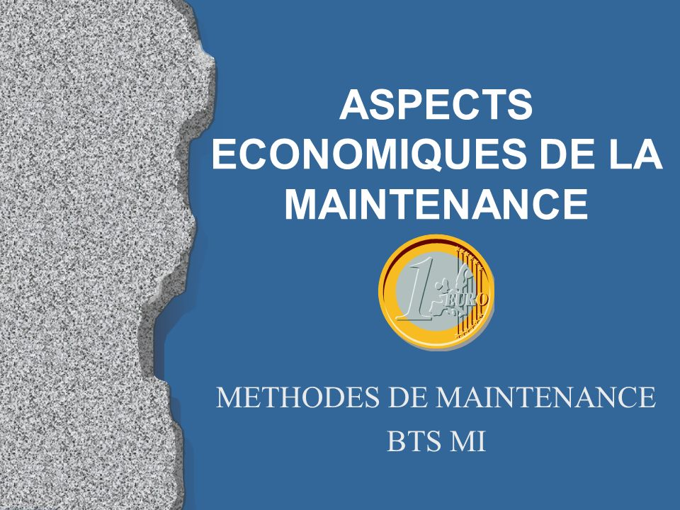 ASPECTS ECONOMIQUES DE LA MAINTENANCE