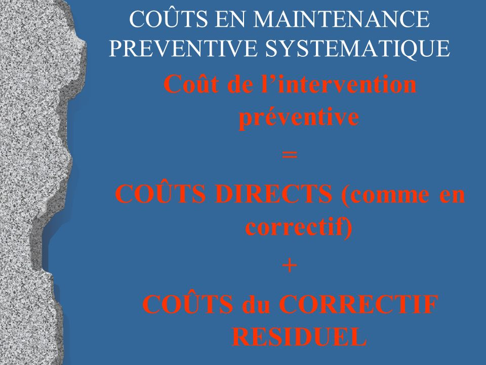 COÛTS EN MAINTENANCE PREVENTIVE SYSTEMATIQUE