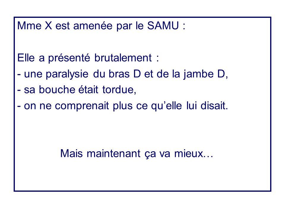 Mme X est amenée par le SAMU :
