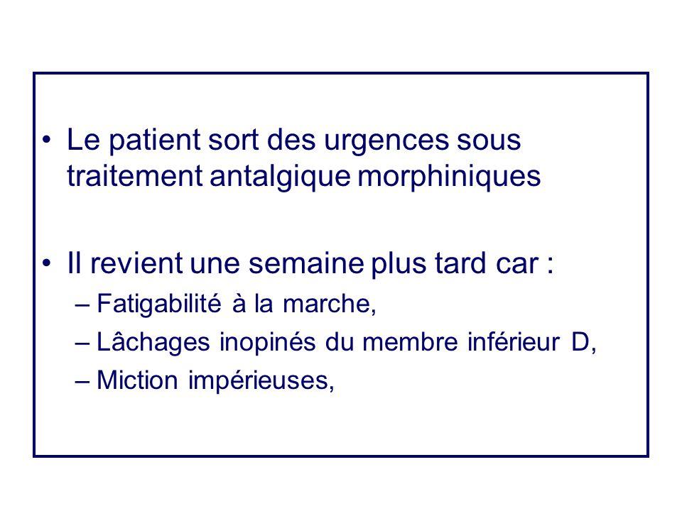 Le patient sort des urgences sous traitement antalgique morphiniques