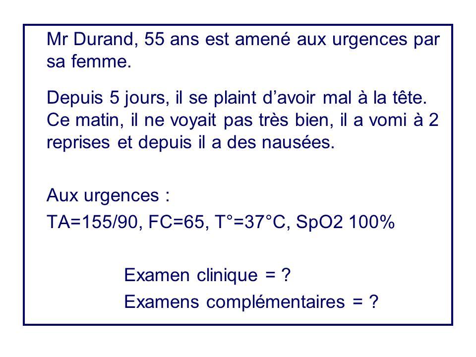 Mr Durand, 55 ans est amené aux urgences par sa femme.