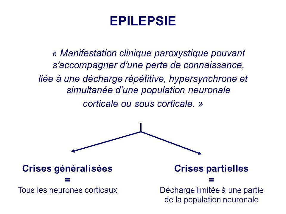 EPILEPSIE « Manifestation clinique paroxystique pouvant s'accompagner d'une perte de connaissance,