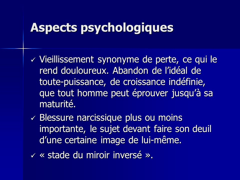 Aspects psychologiques