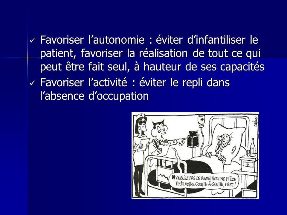 Favoriser l'autonomie : éviter d'infantiliser le patient, favoriser la réalisation de tout ce qui peut être fait seul, à hauteur de ses capacités