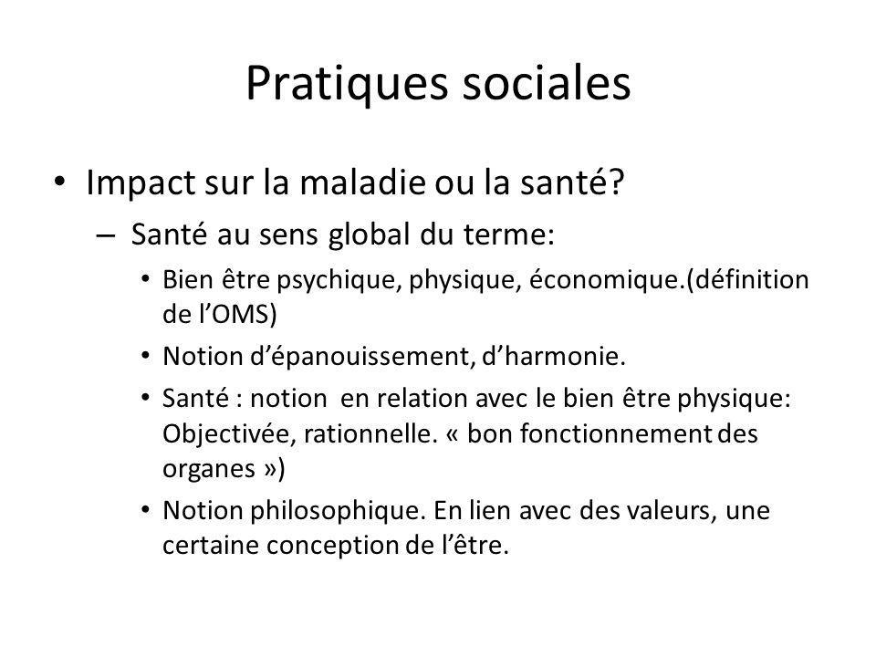 Pratiques sociales Impact sur la maladie ou la santé
