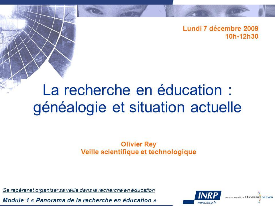 La recherche en éducation : généalogie et situation actuelle