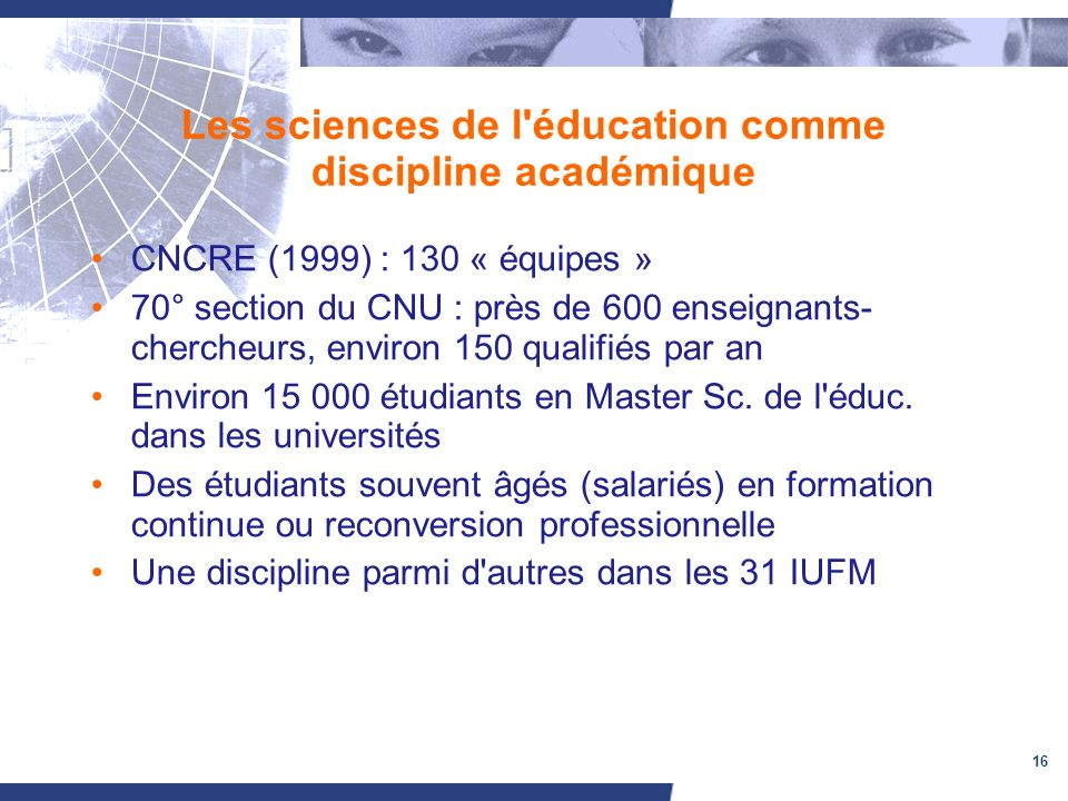 Les sciences de l éducation comme discipline académique