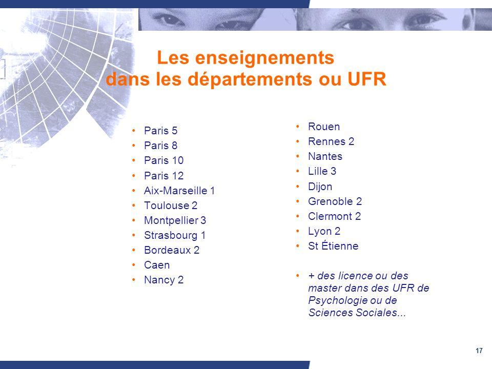 Les enseignements dans les départements ou UFR