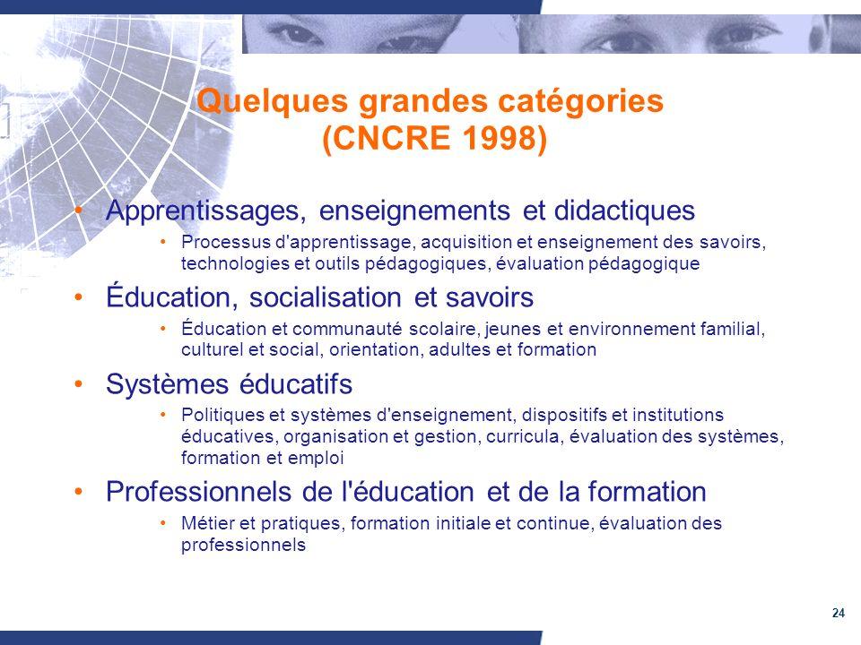 Quelques grandes catégories (CNCRE 1998)
