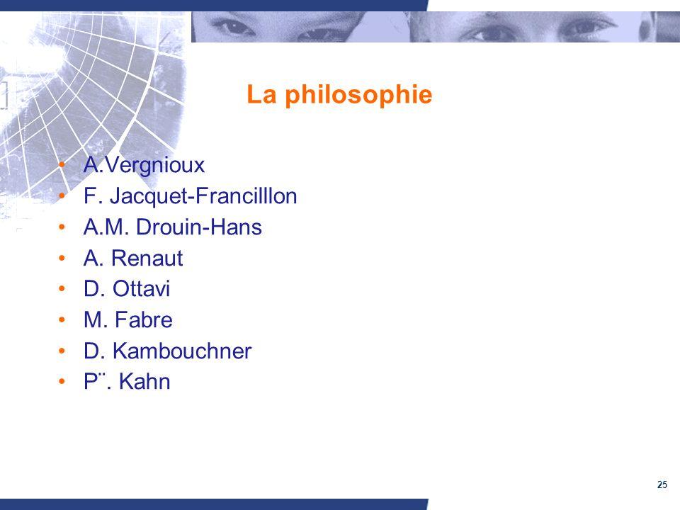 La philosophie A.Vergnioux F. Jacquet-Francilllon A.M. Drouin-Hans