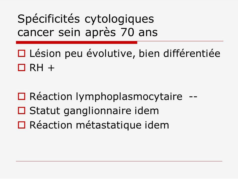 Spécificités cytologiques cancer sein après 70 ans