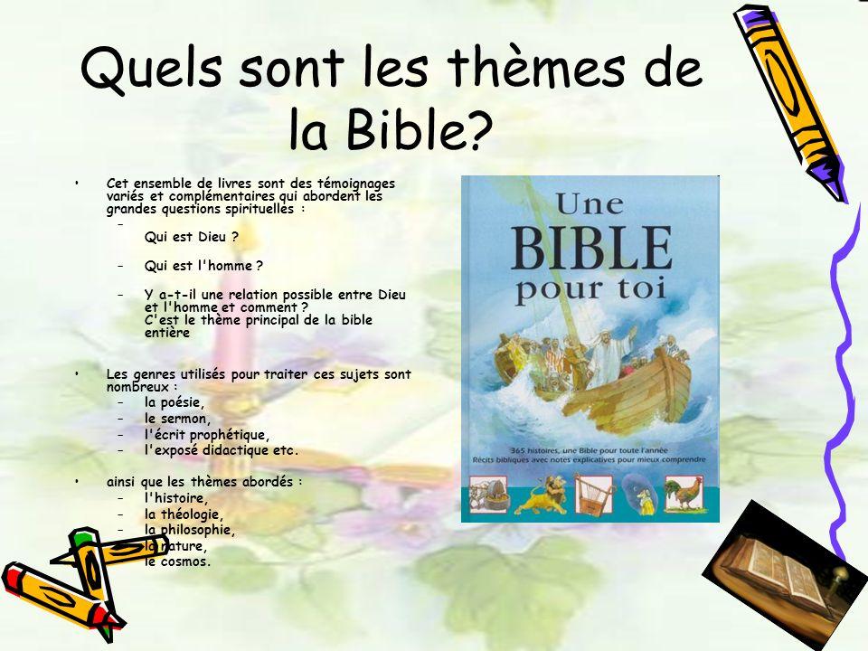 Quels sont les thèmes de la Bible