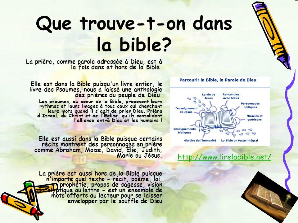Que trouve-t-on dans la bible