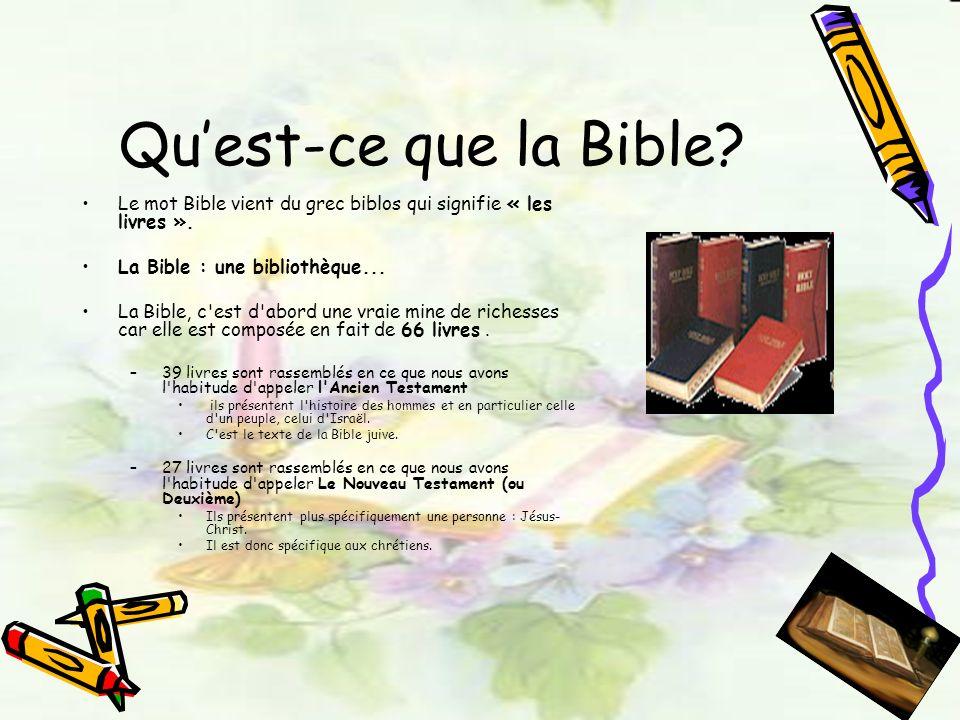 Qu'est-ce que la Bible Le mot Bible vient du grec biblos qui signifie « les livres ». La Bible : une bibliothèque...