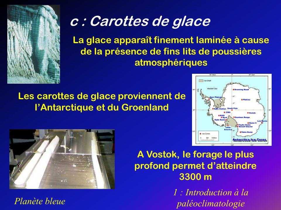 c : Carottes de glace La glace apparaît finement laminée à cause de la présence de fins lits de poussières atmosphériques.