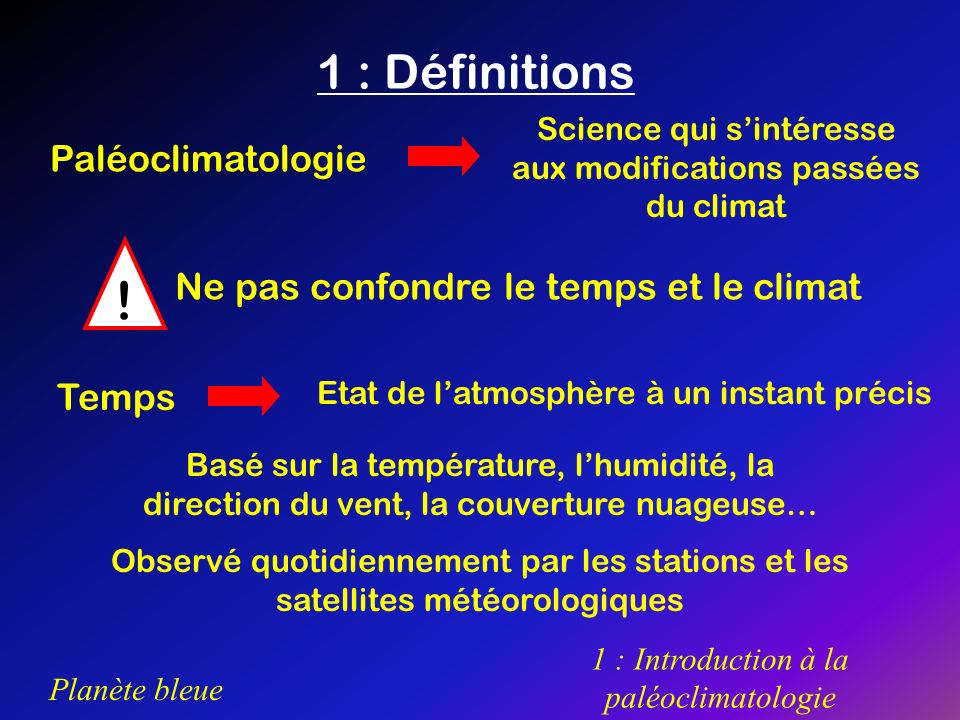 ! 1 : Définitions Paléoclimatologie