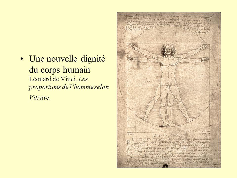 Une nouvelle dignité du corps humain Léonard de Vinci, Les proportions de l'homme selon Vitruve.