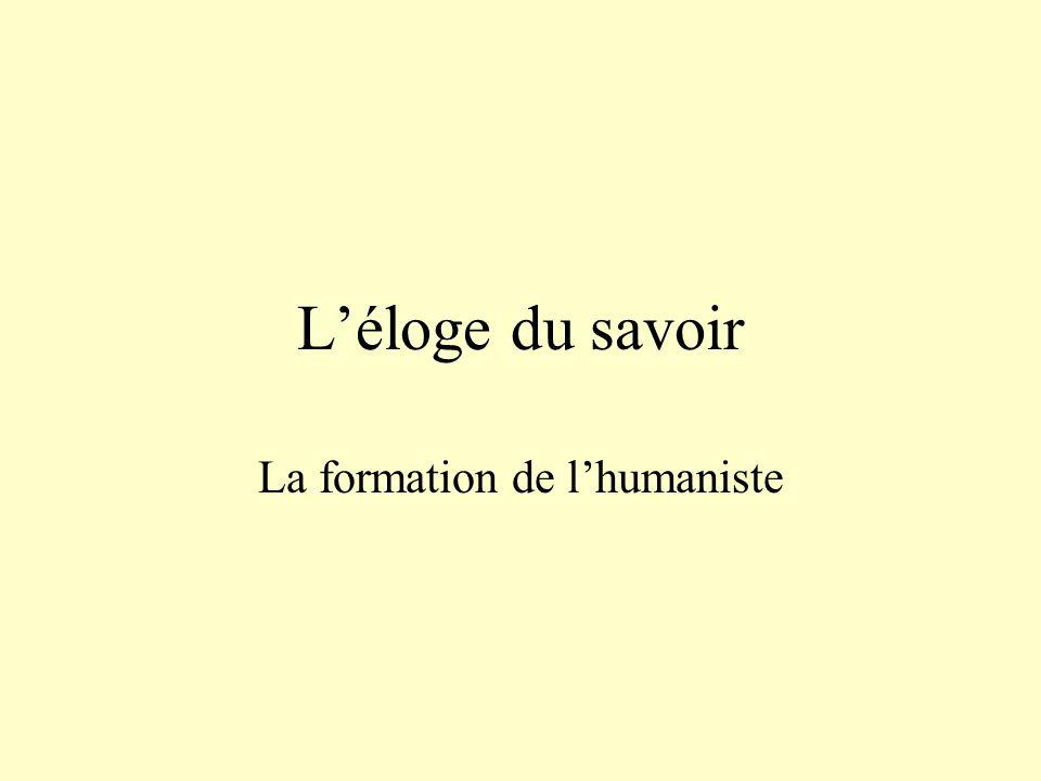 La formation de l'humaniste