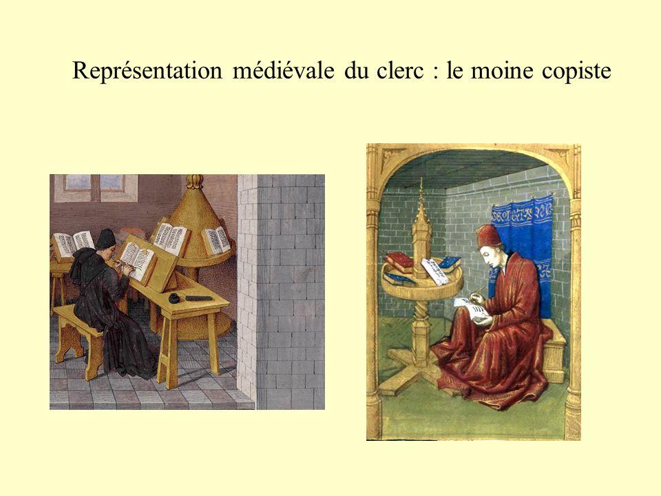 Représentation médiévale du clerc : le moine copiste