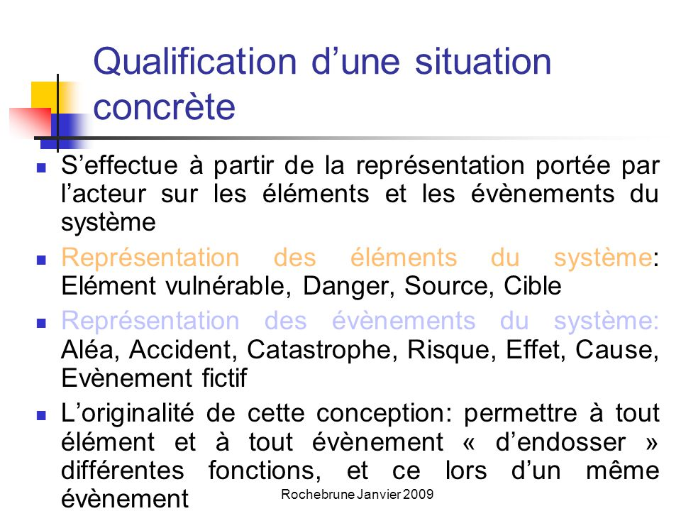 Qualification d'une situation concrète