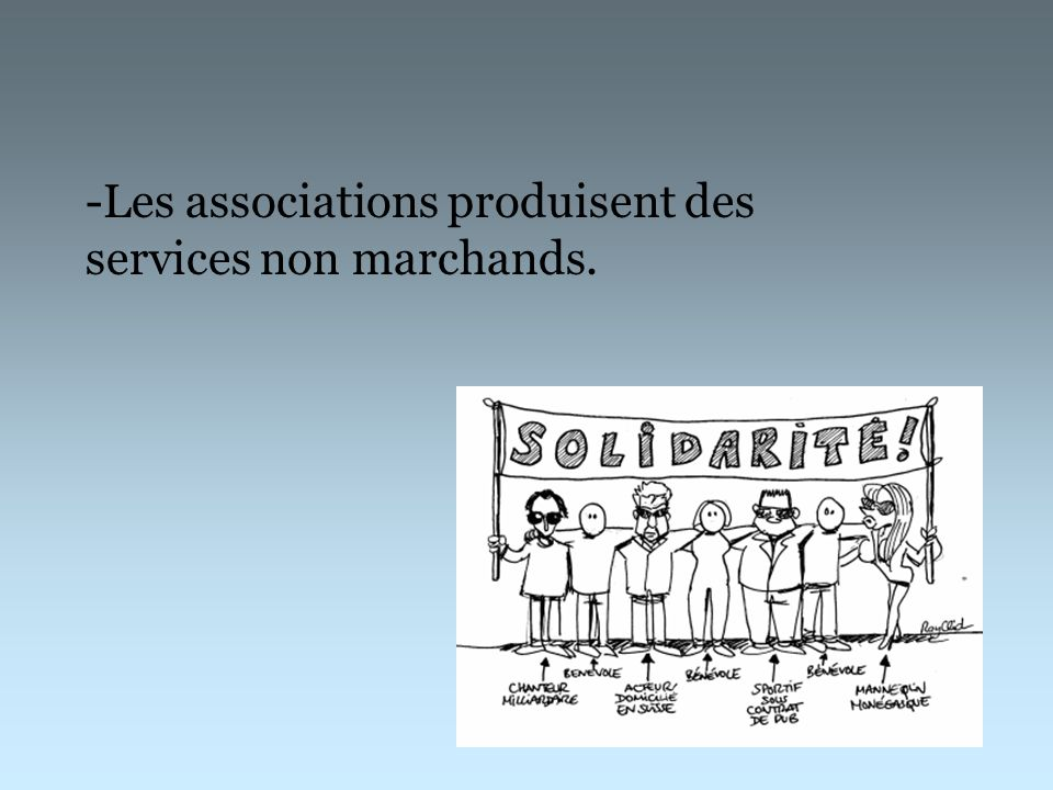 -Les associations produisent des services non marchands.