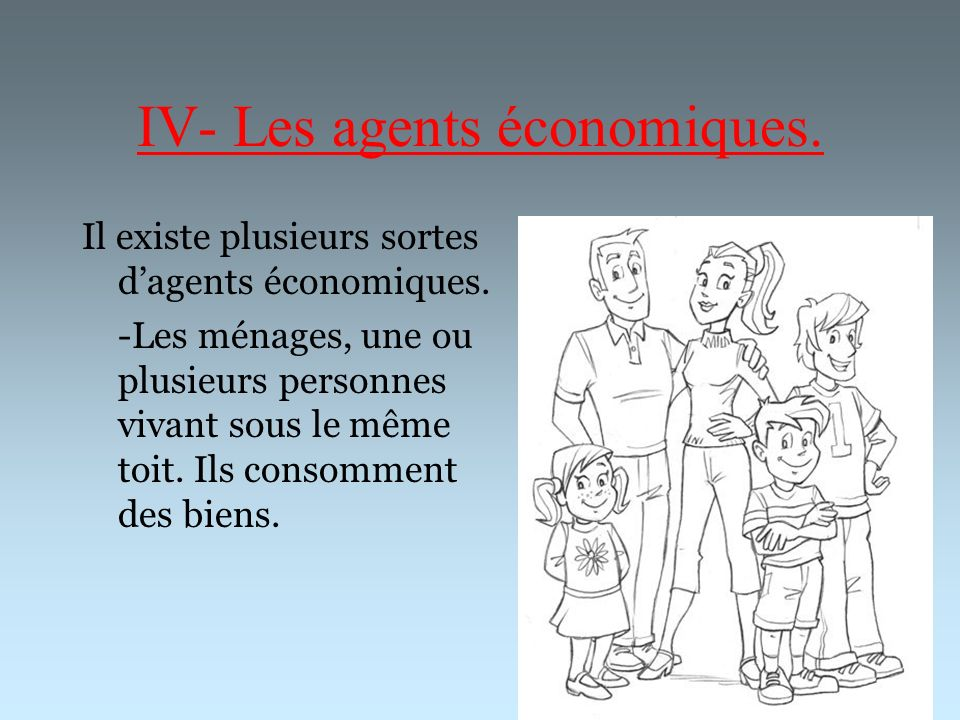 IV- Les agents économiques.