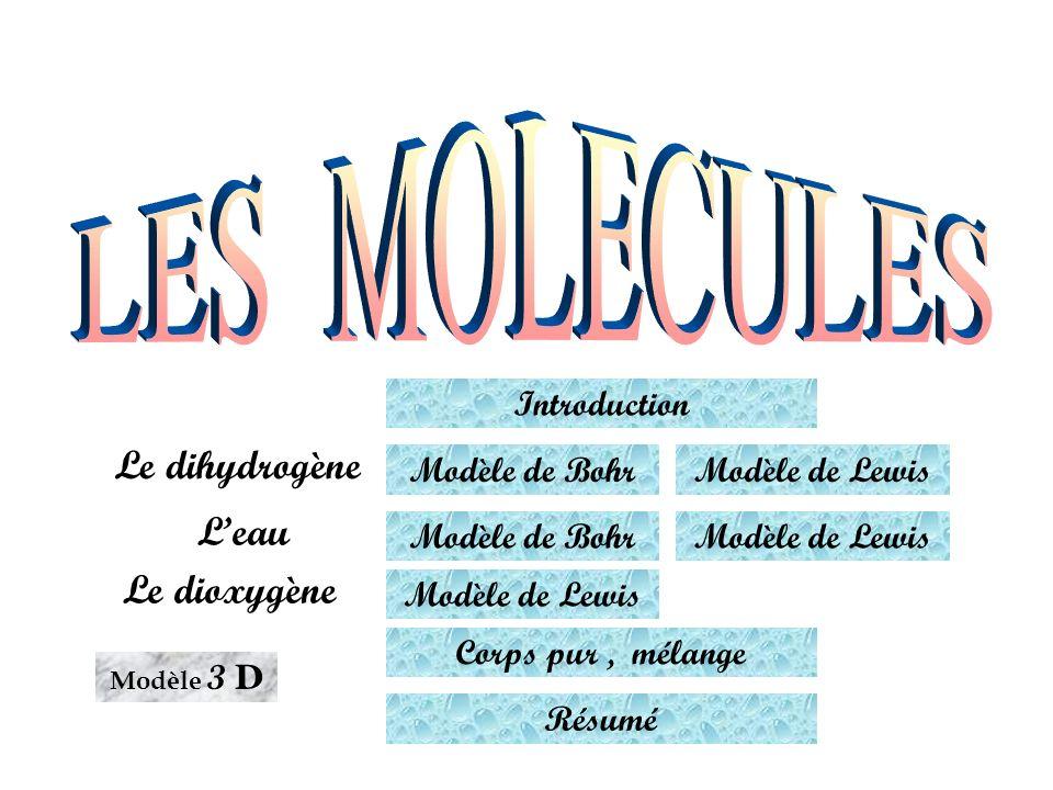 LES MOLECULES Le dihydrogène L'eau Le dioxygène Introduction