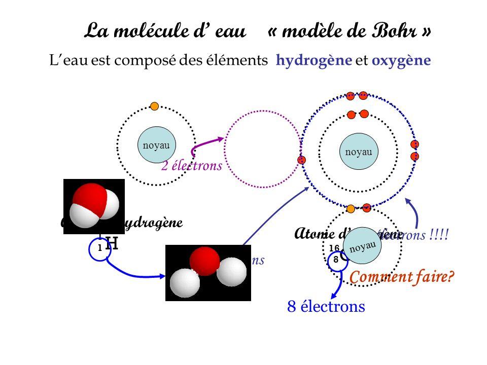 La molécule d' eau « modèle de Bohr »