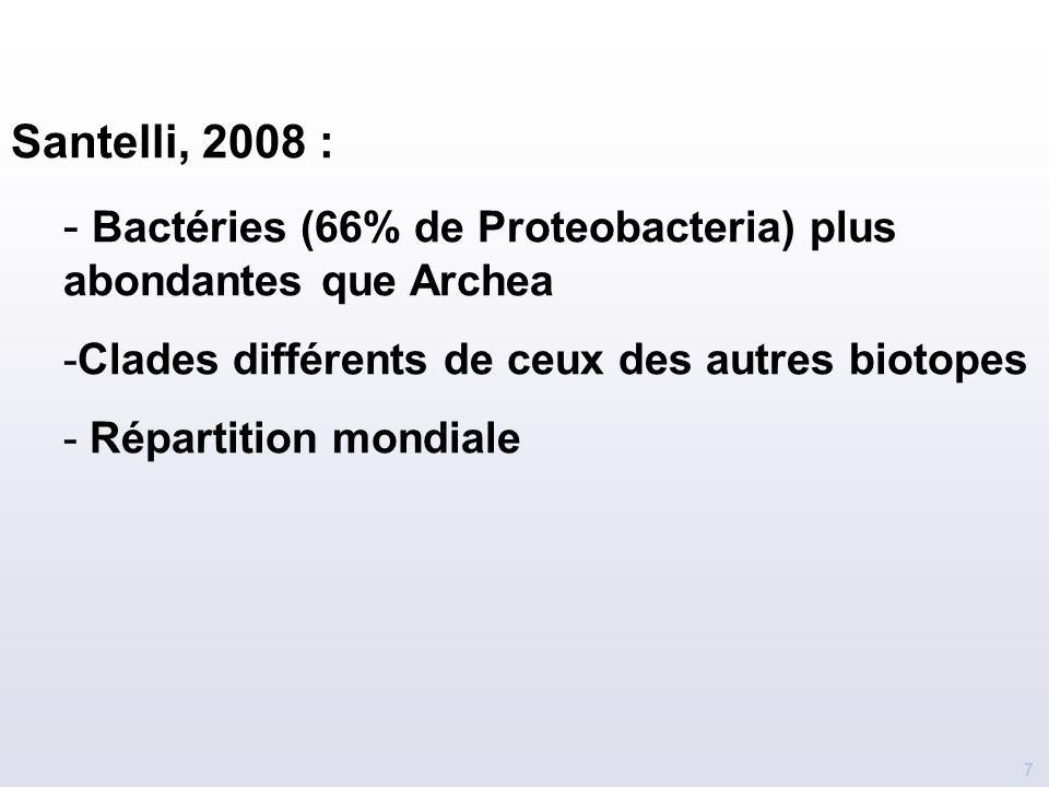 Bactéries (66% de Proteobacteria) plus abondantes que Archea