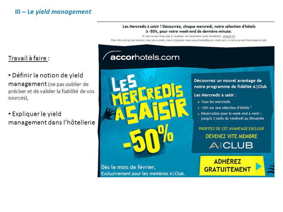 III – Le yield management