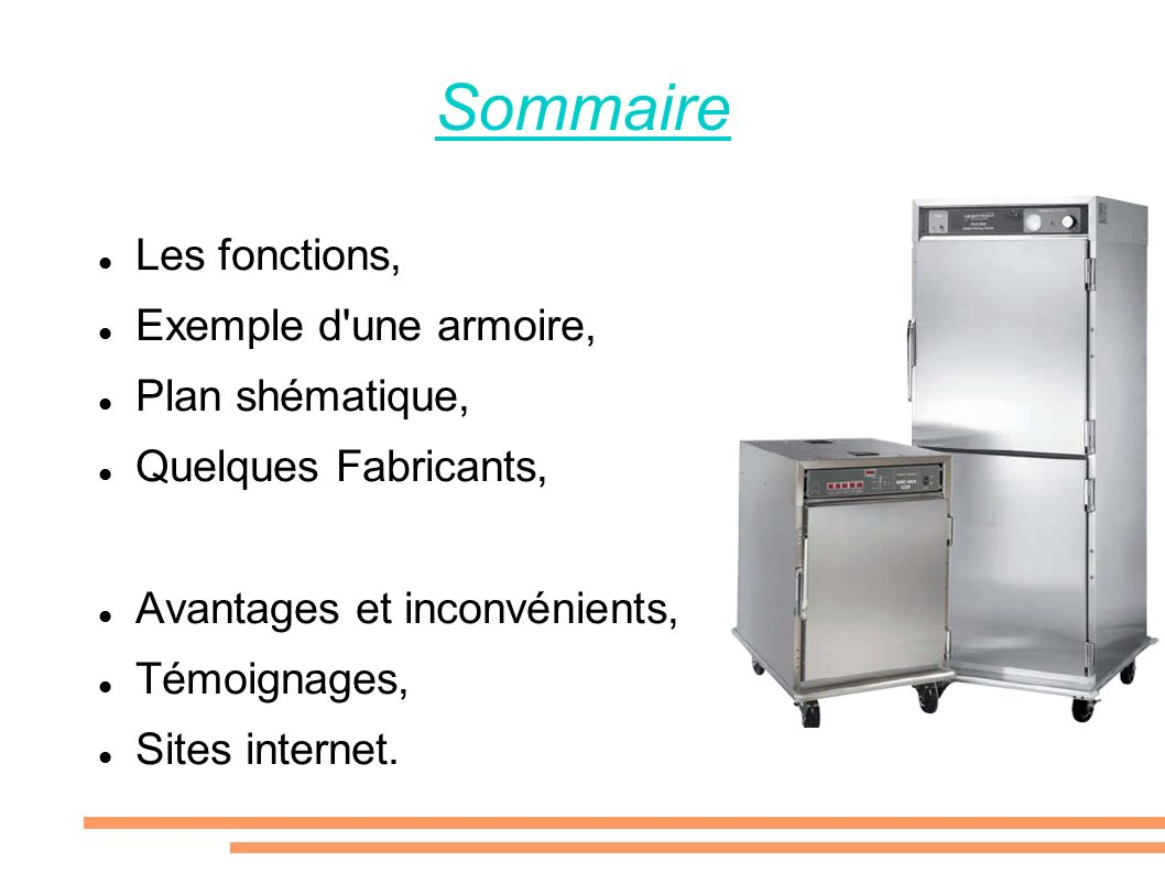 Sommaire Les fonctions, Exemple d une armoire, Plan shématique,
