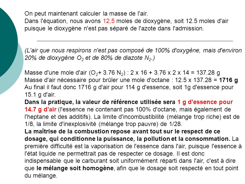 On peut maintenant calculer la masse de l air.