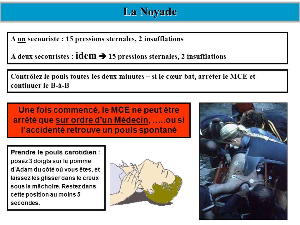 La NoyadeA un secouriste : 15 pressions sternales, 2 insufflations. A deux secouristes : idem  15 pressions sternales, 2 insufflations.
