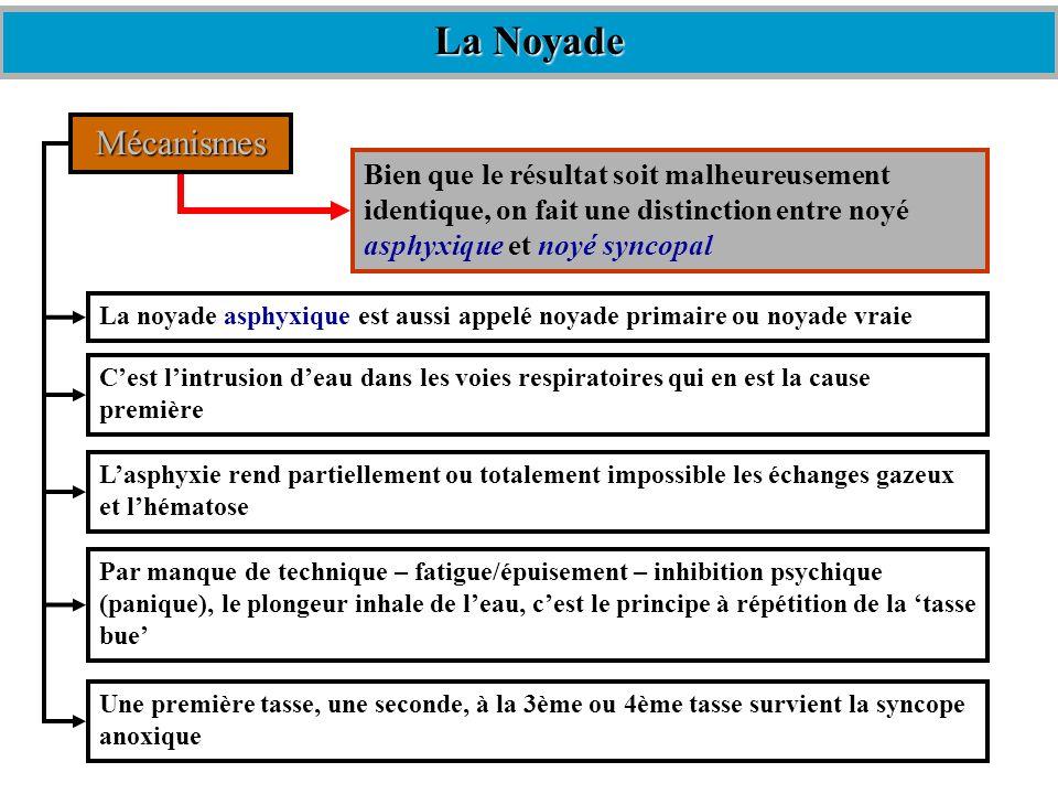 La NoyadeMécanismes. Bien que le résultat soit malheureusement identique, on fait une distinction entre noyé asphyxique et noyé syncopal.