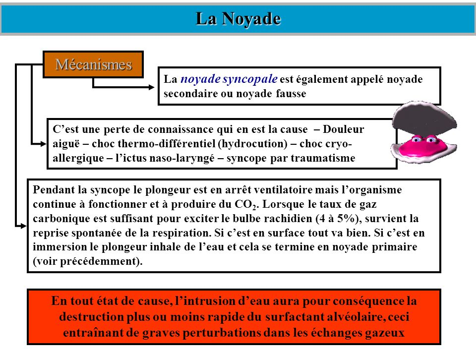 La Noyade Mécanismes. La noyade syncopale est également appelé noyade secondaire ou noyade fausse.