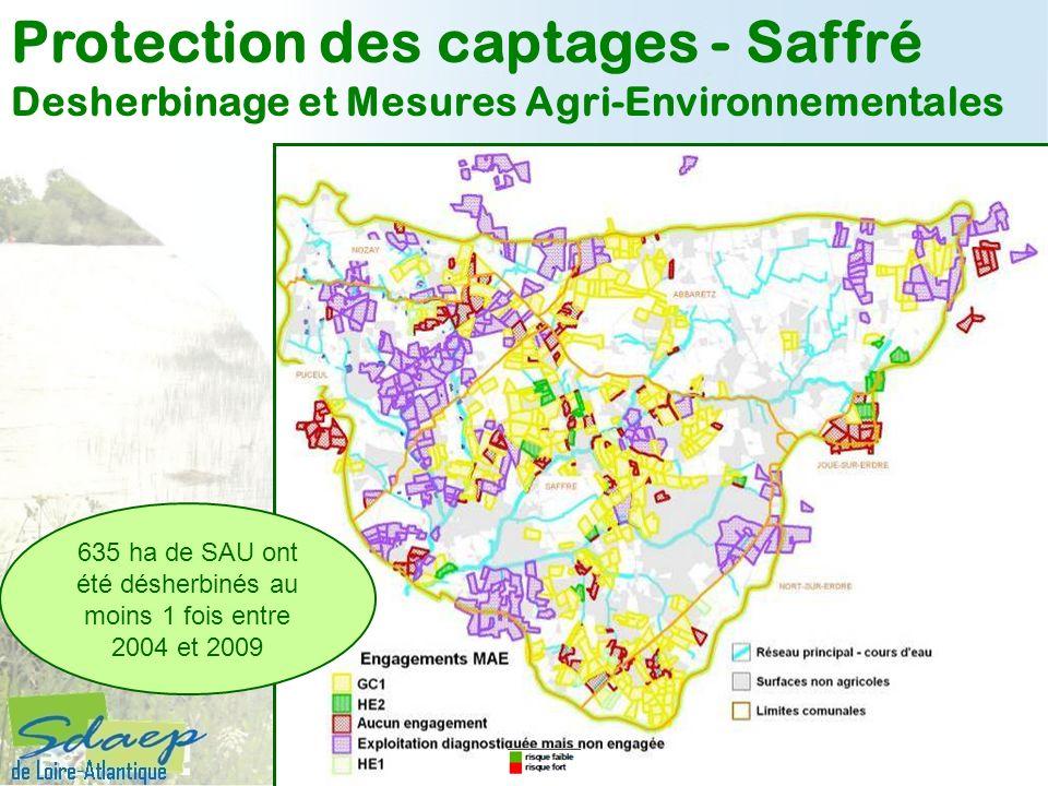 635 ha de SAU ont été désherbinés au moins 1 fois entre 2004 et 2009